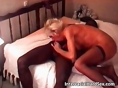 Sexy blonde MILF sucks big black cock part2