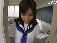 Japanese girl jerks off POV cock