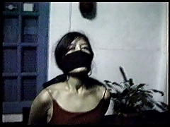 Chairtied, tape gagged and over the nose gagged