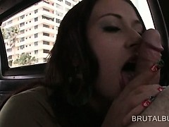 Dick starved amateur redhead giving blowjob in the sex bus