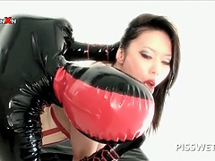 BDSM sex slave gets snatch dildoed and fisted for piss