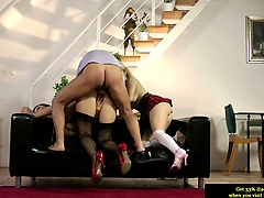 Teen amateur in trio pussy fucked by old man
