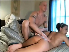 Very hot brunette fucking her men