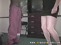 Cuckold MILF slut sucking and fucking big black cock