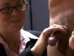 Mature CFNM office sluts tug a cock after work