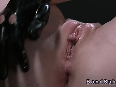 Busty mistress fingering and vibrating bound pale babe
