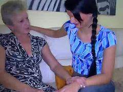 Skinny lesbian wrinkled grannies fucking and girl