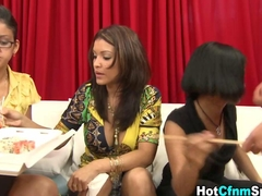 Clothed ebony babes judge a jerk off contest